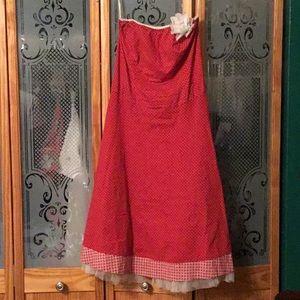 Vintage red polka dot strapless tulle dress
